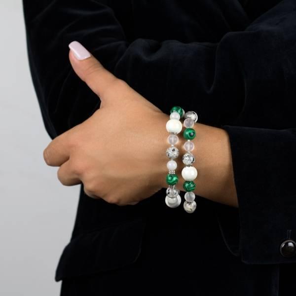 """Lucky Transformation"" - Green Malachite, Grey Jade, Marble, Clear Quartz and Ceramic Women's Beaded Bracelet"