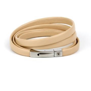 Modern Beige Leather Bracelet