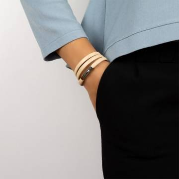 modern beige leather bracelet 3