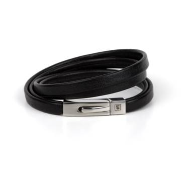 Mystical Black Leather Bracelet