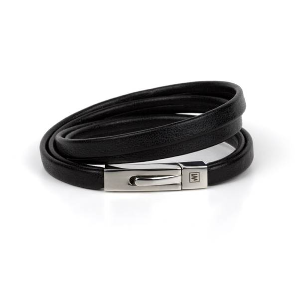 """""""Mystical Black"""" - Leather Bracelet, Double Wrap Stainless Steel Clasp"""