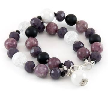 """No Shadow"" - Lepidolite, Shungite, Clear Quartz, Crystal and Ceramic Women's Beaded Bracelet"