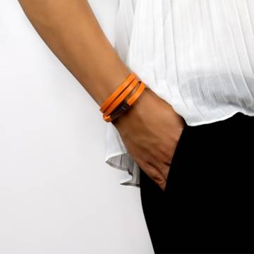 orange happiness leather bracelet 3