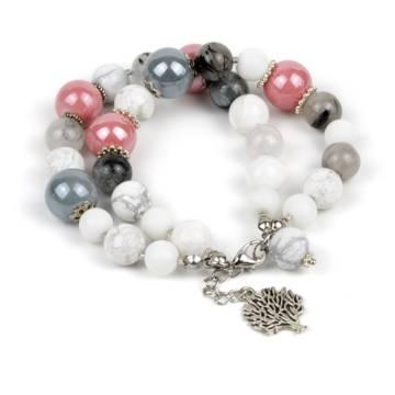 """Pink Grey"" - White Onyx, Howlite, Tourmaline Quartz and Ceramic Women's Beaded Bracelet"