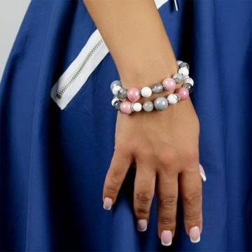 pink grey beaded bracelet 3