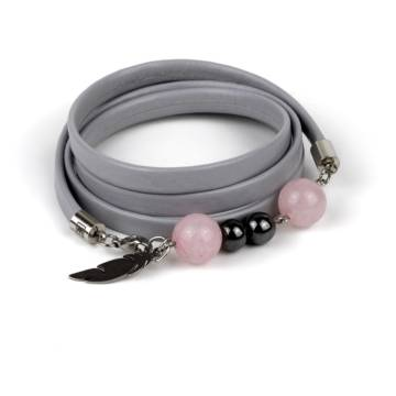 """Pink Queen"" - Rose Quartz and Hematite Beaded Leather Wrap Bracelet"