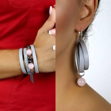 pink queen beaded leather bracelet earrings set 2