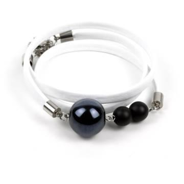 """Power of Positivity"" - Shungite and Ceramic Beaded Leather Wrap Bracelet"