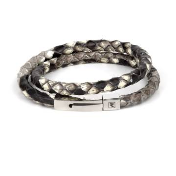 Naturl Python Leather Double Wrap Bracelet