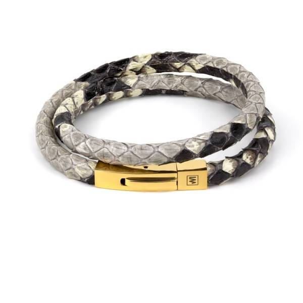 Natural Phyton fancy leather bracelet with golden colour clasp
