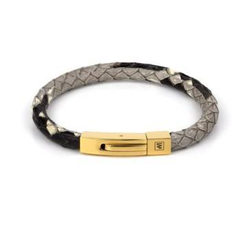python fancy leather single bracelet gold 1