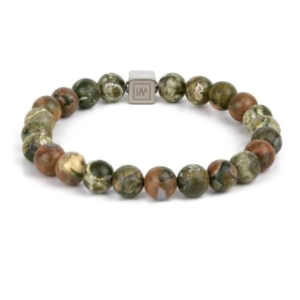 """Rainforest Wagyl"" - Rainforest Jasper Beaded Stretch Bracelet, Stainless Steel"