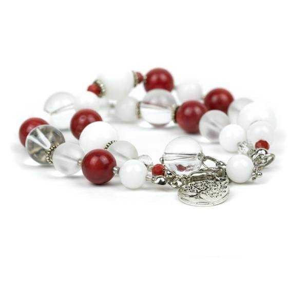 """""""Red Emotion"""" - White Jade, Red Coral and Clear Quartz Women's Beaded Bracelet"""