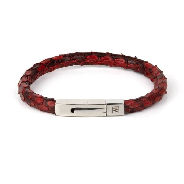 """Red Python"" - Python Leather Bracelet, Snakeskin, Single Wrap, Stainless Steel"