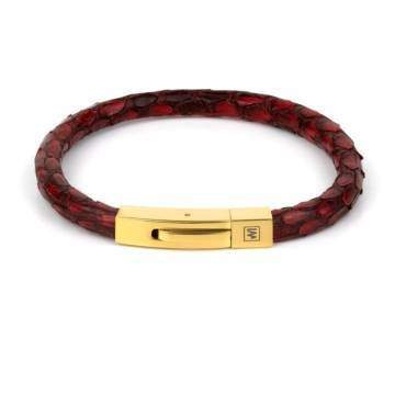 red python fancy leather single bracelet gold 1
