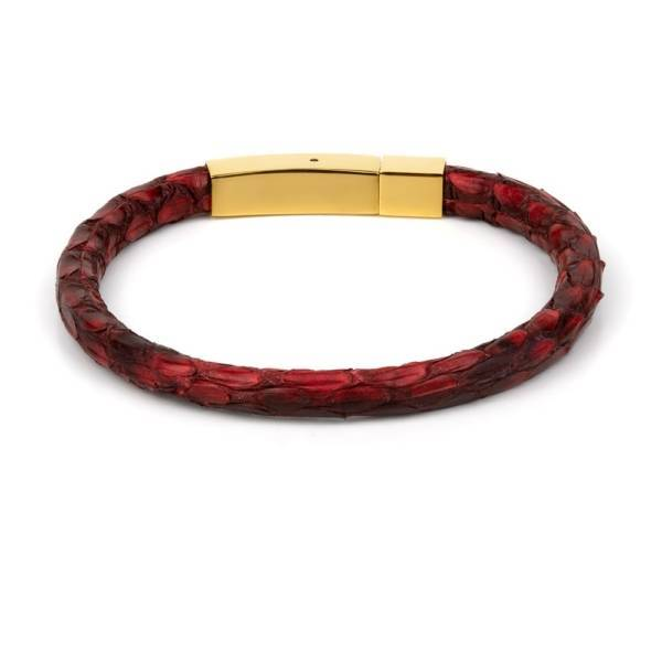 """Red Python"" - Python Leather Bracelet, Snakeskin, Single Wrap, Golden Stainless Steel"