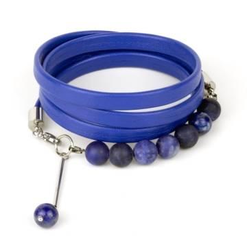 """""""Royal Blue"""" - Sodalite and Lapis Lazuli Beaded Leather Wrap Bracelet"""
