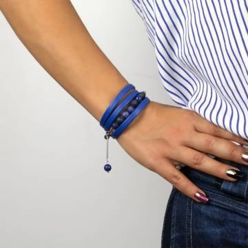 royal blue beaded leather bracelet 3