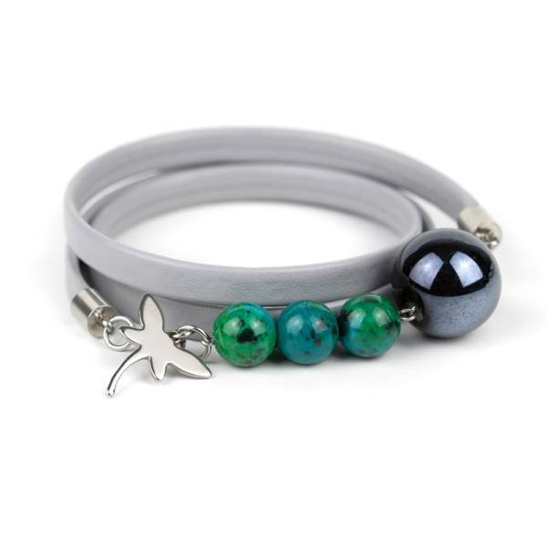 """""""Shallow Water"""" - Chrysocolla and Ceramic Beaded Leather Wrap Bracelet"""