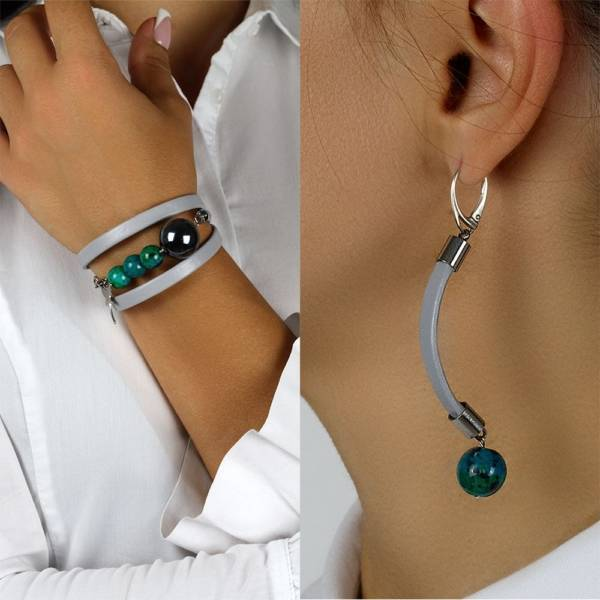 """""""Shallow Water Set"""" - Chrysocolla and Ceramic Beaded Leather Wrap Bracelet and Earrings Set"""