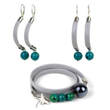 Shallow Water Beaded Leather Bracelet and Earrings Set