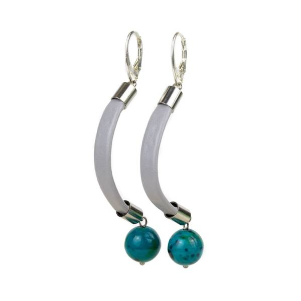 """""""Shallow Water"""" - Chrysocolla Leather Drop Earrings, 925 Sterling Silver Leverbacks"""
