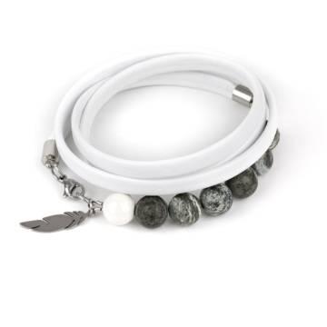 """""""Stunning Green"""" - Green Zebra Jasper and Ceramic Beaded Leather Wrap Bracelet"""