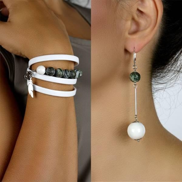 """""""Stunning Green Set"""" - Green Zebra Jasper and Ceramic Beaded Leather Wrap Bracelet and Earrings Set"""