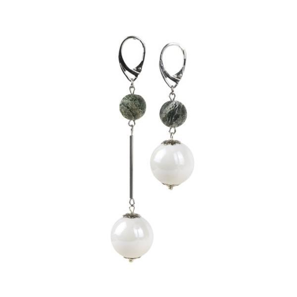 """Stunning Green"" - Green Zebra Jasper and Ceramic Leather Drop Earrings, 925 Sterling Silver Leverbacks"