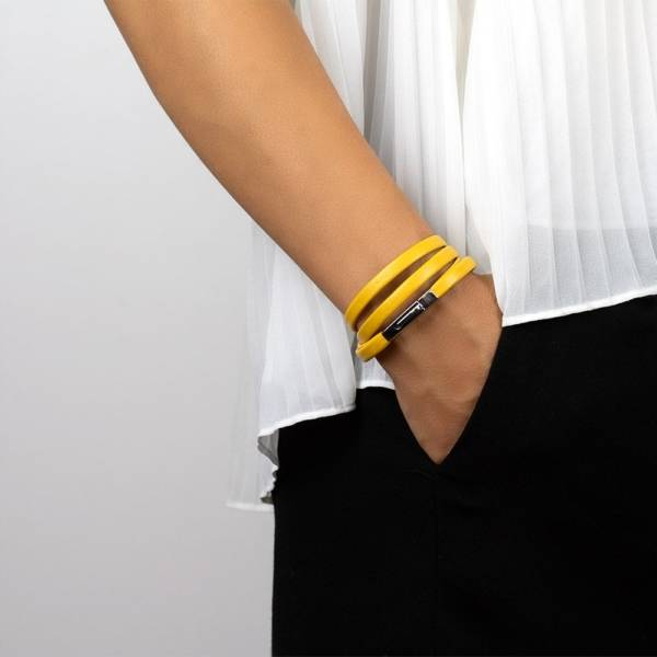"""""""Sunny Mood"""" - Leather Bracelet, Double Wrap Stainless Steel Clasp"""