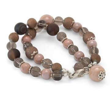"""Sunset Inspiration"" - Botswana Agate, Smoky Quartz and Ceramic Women's Beaded Bracelet"