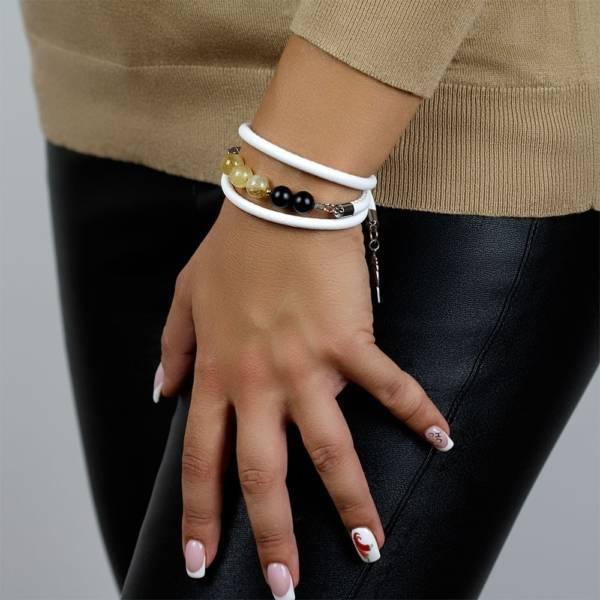 """""""Sunshine Prosperity"""" - Citrine and Shungite Beaded Leather Wrap Bracelet"""