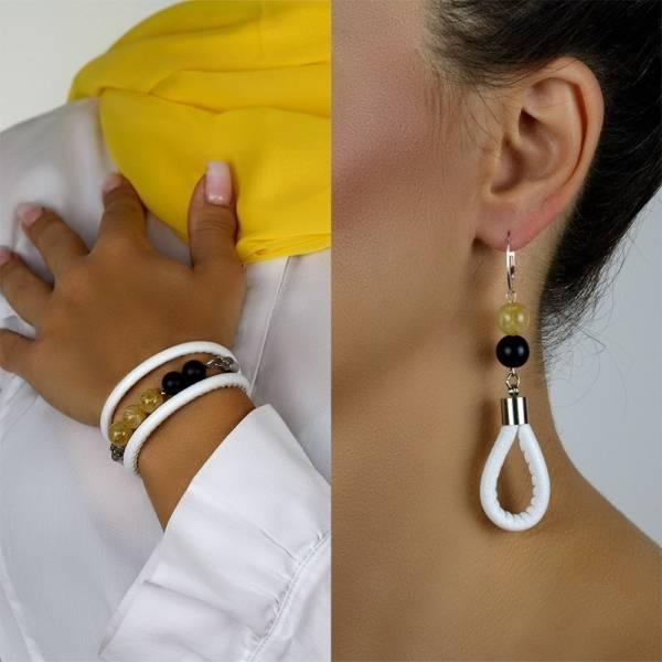 """Sunshine Prosperity Set"" - Citrine and Shungite Beaded Leather Wrap Bracelet and Earrings Set"