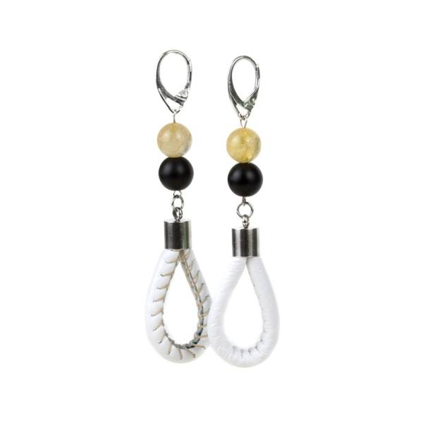 """""""Sunshine Prosperity"""" - Citrine and Shungite Leather Drop Earrings, 925 Sterling Silver Leverbacks"""