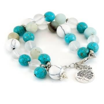 """True Energy"" - Amazonite, Howlite, Turquenite and Clear Quartz Women's Beaded Bracelet"