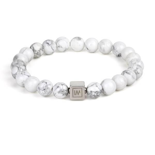 White Buffalo Beaded Stretch Bracelet for MEN