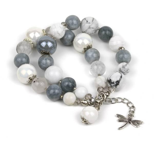 """White Fortune"" - Howlite, Tourmaline Quartz, Grey Jade and Ceramic Women's Beaded Bracelet"