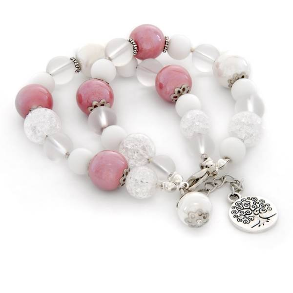 """White Pink"" - White Onyx, Clear Quartz, and Ceramic Women's Beaded Bracelet"