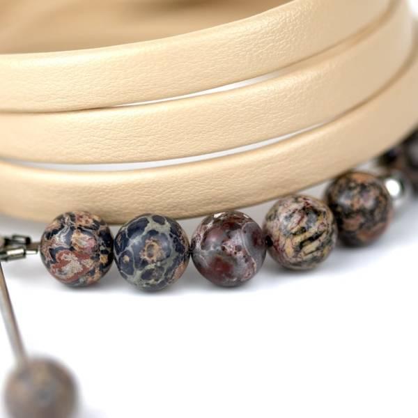 """""""Wild Peace"""" - Leopard Skin Jasper Beaded Leather Wrap Bracelet"""