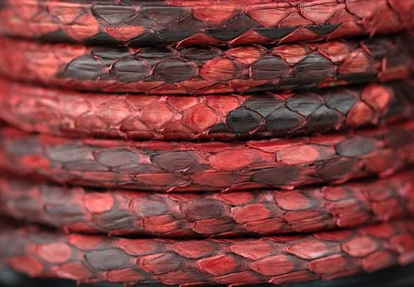 Natural Python Leather in Red