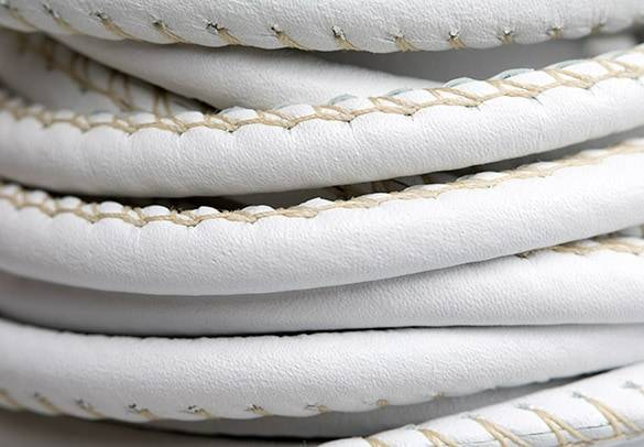 Round Stitched White Leather