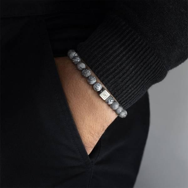 Imagine Beaded Stretch Bracelet on men hand