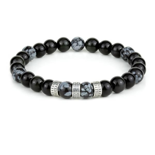 """Jaguar Mirror Silver Trio"" - Black Obsidian And Snowflake Obsidian Beaded Bracelet, Sterling Silver"