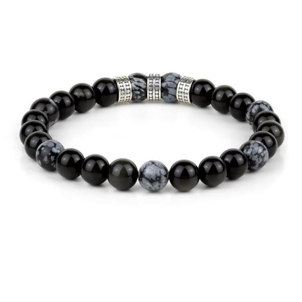 Jaguar Mirror beaded stretch bracelet with Sterling Silver charms