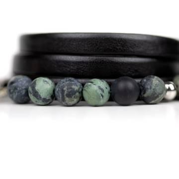 kambaba matte beaded leather bracelet 2