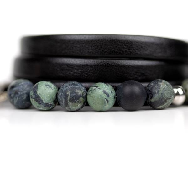"""Kambaba Matte"" - Matte Kambaba Jasper Beaded Leather Wrap Bracelet"
