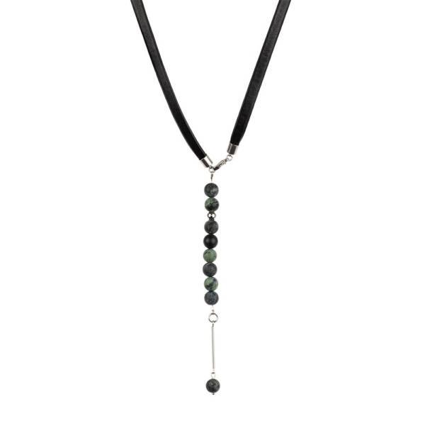 """Kambaba Matte"" - Matte Kambaba Jasper Beaded Leather Wrap Bracelet as Necklace"