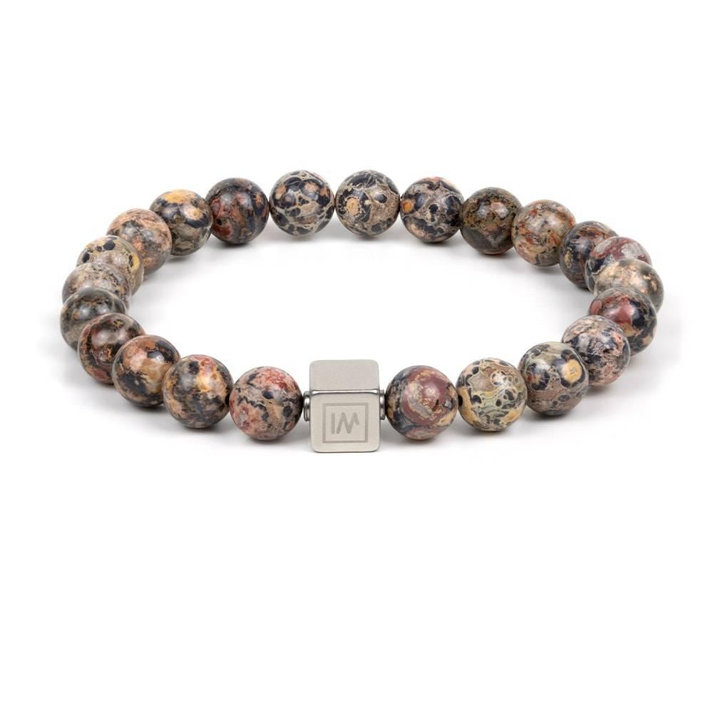 Leopard Jasper With Silver Plated Bead Stretch Bracelet