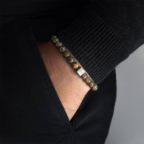 Leopard Beaded Stretch Bracelet on men's hand
