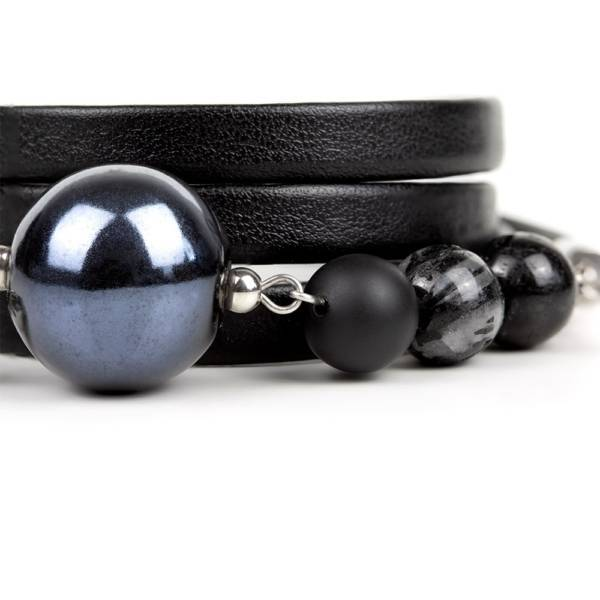 Midnight Secret Beaded Leather Bracelet